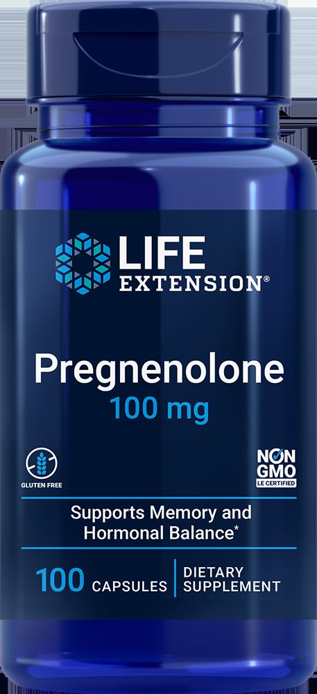 Pregnenolone, 100 mg, 100 capsules