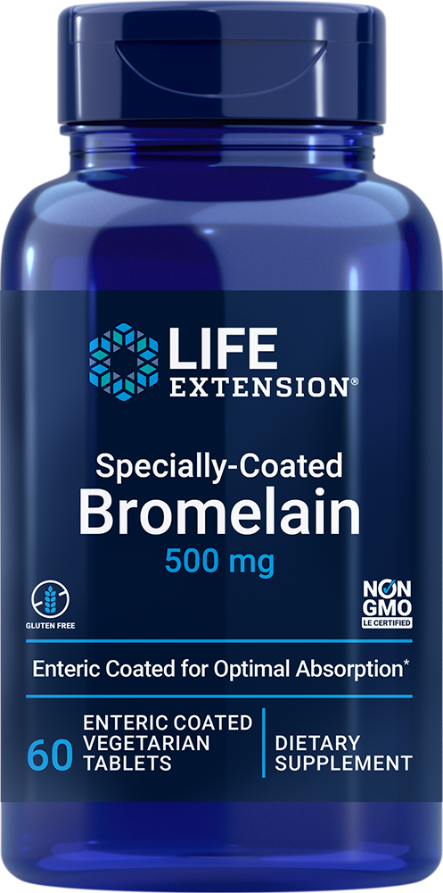 Specially-Coated Bromelain, 500 mg, 60 enteric coated tabletsnohtin