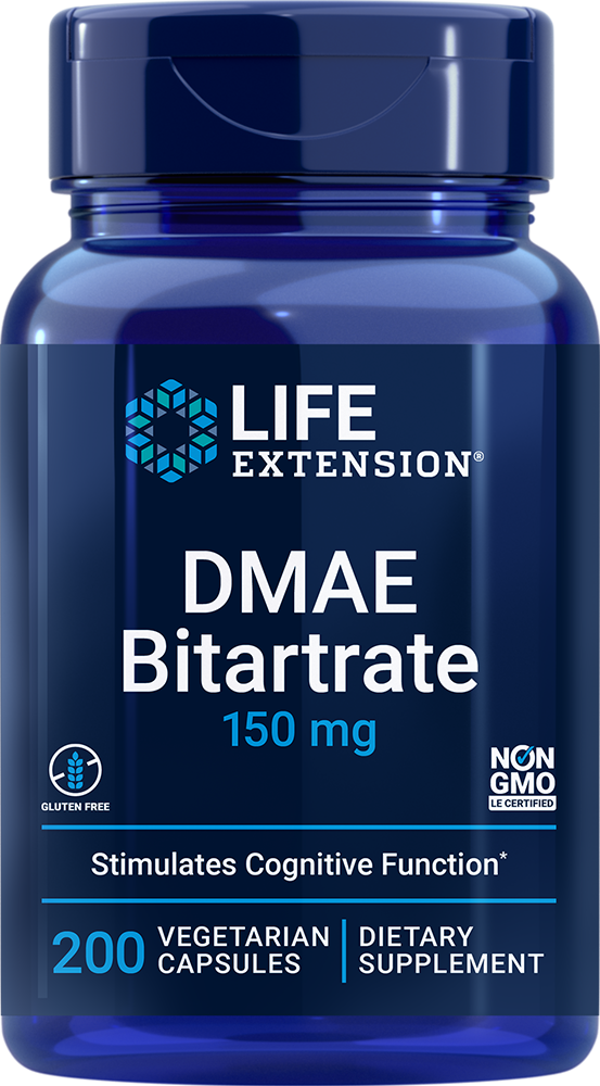 DMAE Bitartrate dimethylaminoethanol 150 mg 200 vegetarian capsules