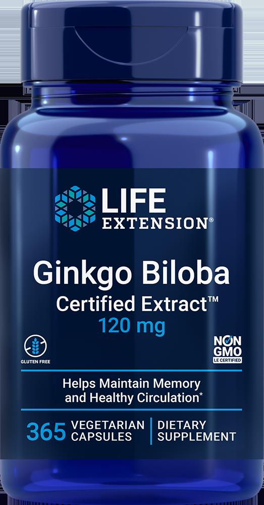 Ginkgo Biloba Certified Extract™ 120 mg 365 vegetarian capsules