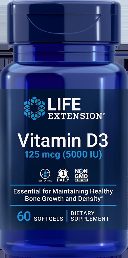 Life Extension Vitamin D3 - 5000 IU (60 Softgels)