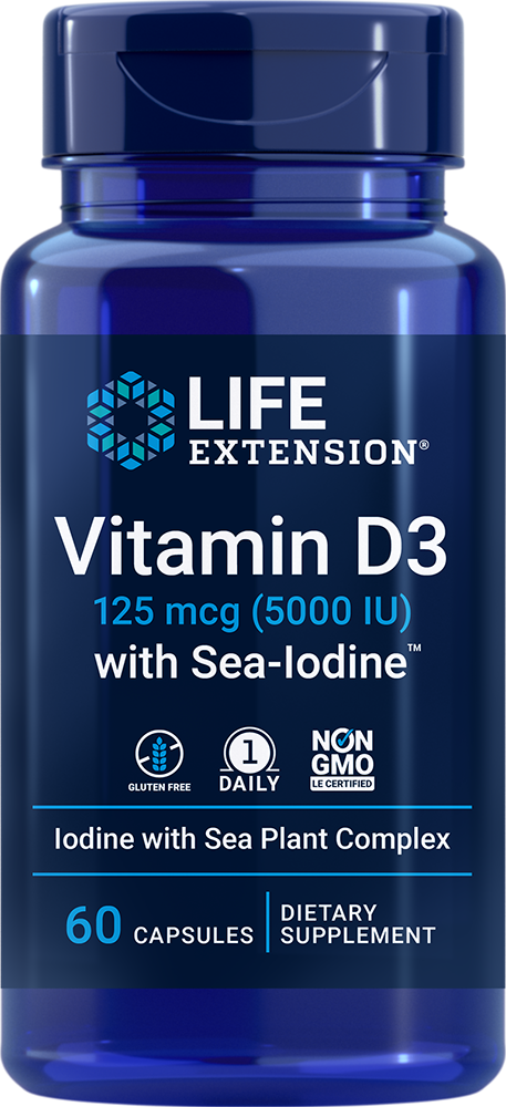 Vitamin D3 with Sea-Iodine?, 5,000 IU, 60 capsules