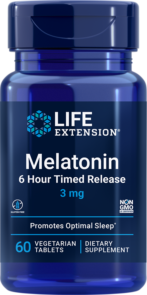 Melatonin 6 Hour Timed Release, 3 mg, 60 vegetarian tablets