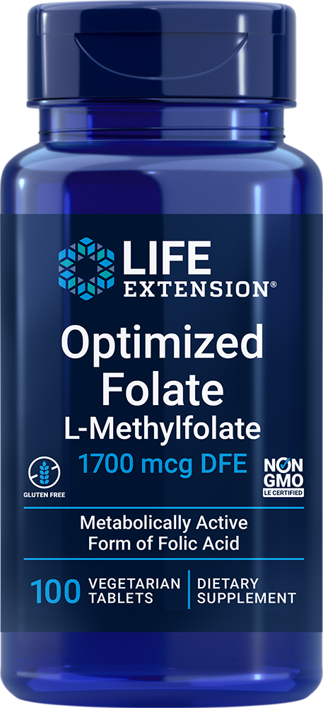 Optimized Folate L Methylfolate 1000 mcg 100 vegetarian tablets