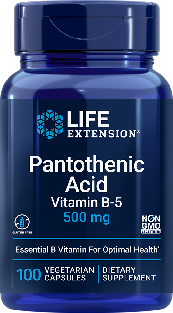 Pantothenic Acid Vitamin B 5 500 mg 100 vegetarian capsules