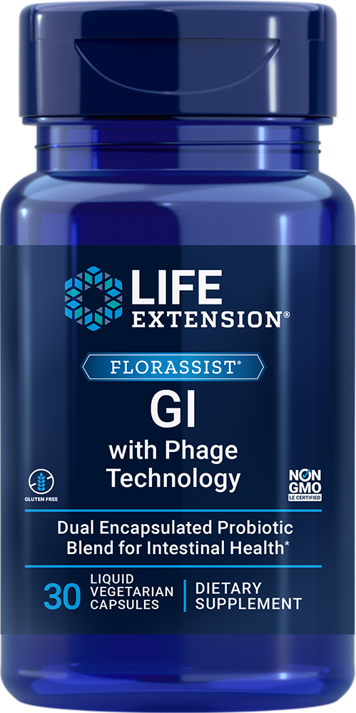 FLORASSIST® GI with Phage Technology, 30 liquid vegetarian capsulesnohtin