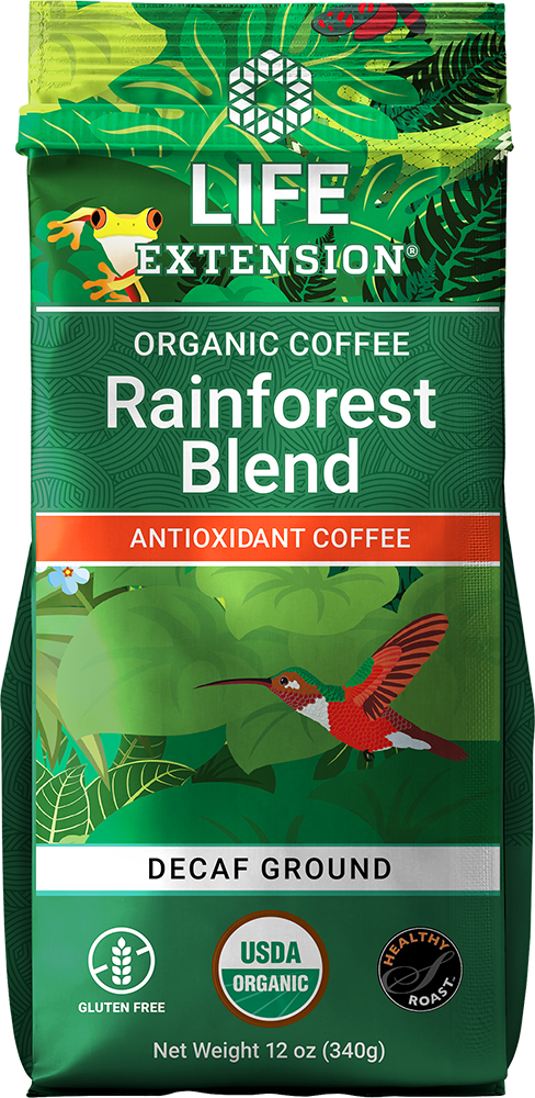 Coffee is naturally packed with  antioxidants  but traditional roasting techniques strip the beans of these  health-promoting compounds. Life Extension Rainforest Blend medium-dark roast antioxidant  coffee comes from 100% USDA certified organic Arabica beans prepared using a  special HealthyRoast process