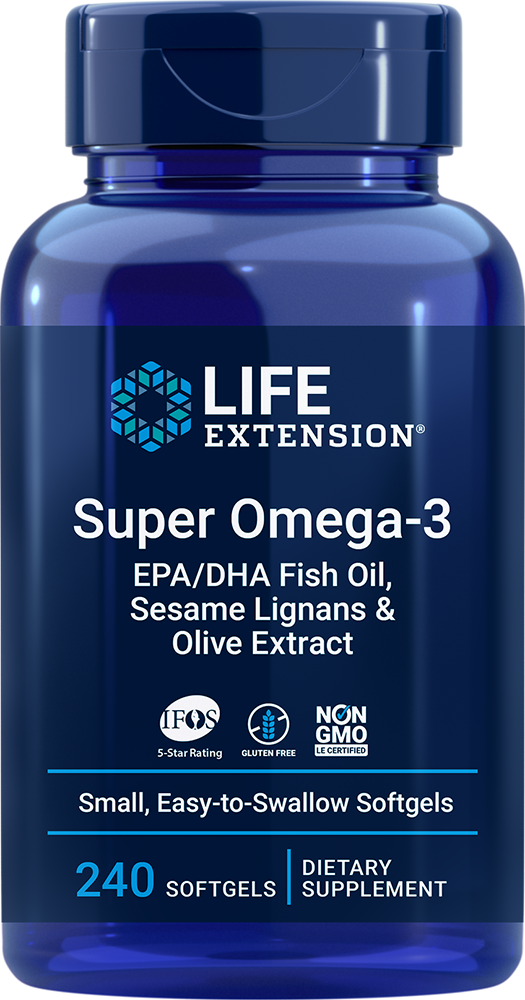 Super Omega-3 EPA/DHA with Sesame Lignans & Olive Extract - Heart & brain healthy fish oil formula