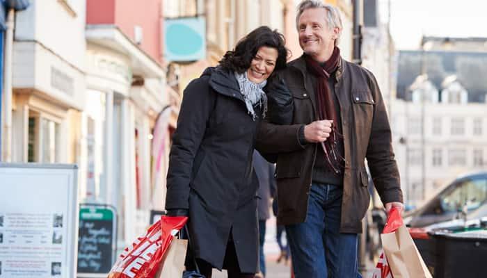 Couple enjoying walking in the winter