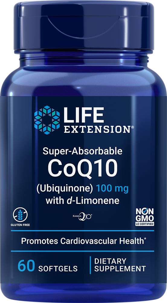 Super-Absorbable CoQ10 (Ubiquinone) with d-Limonene - Promotes heart health & healthy brain function