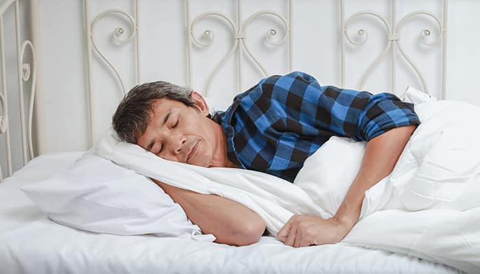 Man in a light sleep stage