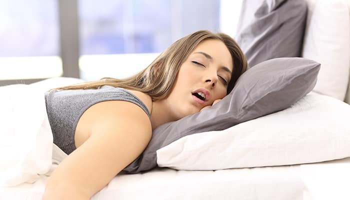 Woman in a deep sleep stage